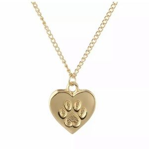 Gold Cat Lover Necklace Link Chain Dog Heart